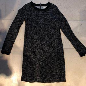 Madewell Gray & Black Long Sleeve Dress